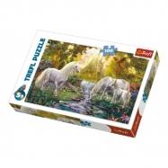 Puzzle Jednorožci koně v zahradě 100 dílků 41x27,5cm v krabici 29x20x4cm