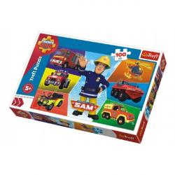 Puzzle Požárník Sam 100 dílků 41x27,5cm v krabici 29x19x4cm