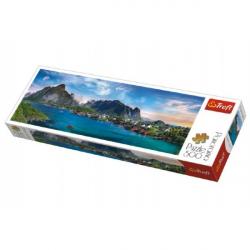 Puzzle Lofoten Archipelago, Norsko panorama 500 dílků 66x23,7cm v krabici 40x13x4cm