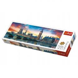 Puzzle Big Ben a Westminsterský palác, Londýn panoráma 500 dielikov 66x23,7cm v krabici 40x13x4cm