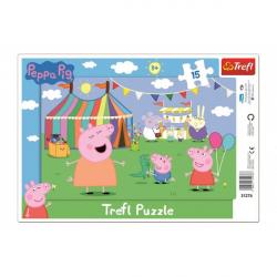 Puzzle doskové V zábavnom parku Prasiatko Peppa / Peppa Pig 15dílků 33x23cm