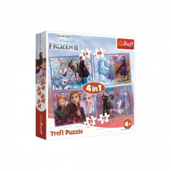 Puzzle 4v1 Ľadové kráľovstvo II / Frozen II