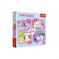 Puzzle 4v1 Mačacie zábava 28,5x20,5cm v krabici 28x28x6cm