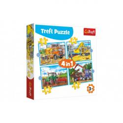 Puzzle 4v1 Pracovné Vozidlá v krabici 28x28x6cm