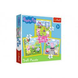 Puzzle 3v1 Prasiatko Peppa / modré plavky Šťastný deň prasiatka