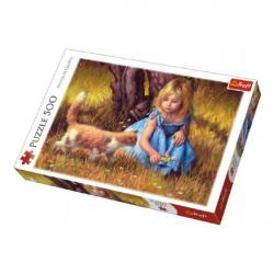 Puzzle Dievčatko s mačkou maľované 500 dielikov 48x34cm v krabici 40x27x4,5cm