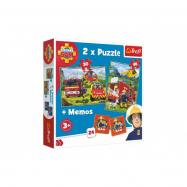 Puzzle 2v1 + pexeso Požárník Sam 27,5x20,5cm v krabici 28x28x6cm