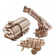 Ugears dřevěná stavebnice 3D mechanické Puzzle - Nádstavba cisterna a hasičský vůz k Truck UGM-11