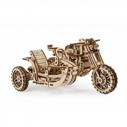 Ugears 3D dřevěné mechanické puzzle Motorka s vozíkem