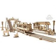 Ugears dřevěná stavebnice 3D mechanické Puzzle - Tramvajová linka