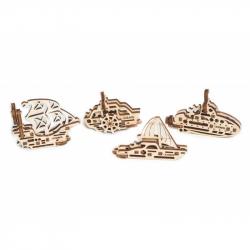 Ugears dřevěná stavebnice 3D mechanické Puzzle - U-fidget lodě
