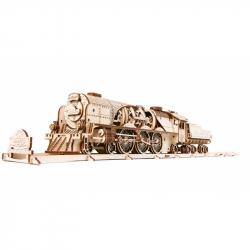 Ugears Dřevěná stavebnice 3D mechanické puzzle V-Express parní lokomotiva