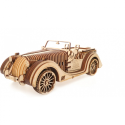 Ugears dřevěná stavebnice 3D mechanické Puzzle - Vůz Roadster VM-01