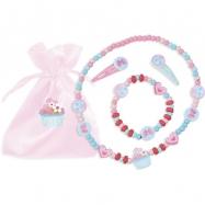 Vilac Dřevěný set náhrdelníku, náramku a sponek cupcake