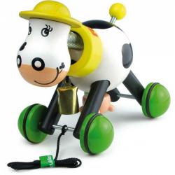 Drevená hračka Vilac - Drevená ťahacie kravička s domčekom