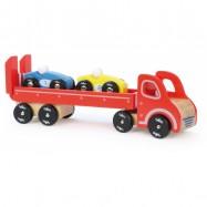 Drewniana ciężarówka z autami wyścigowymi