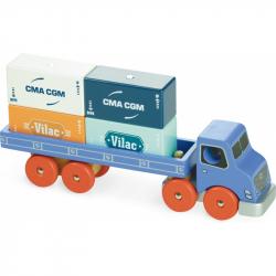 Vilacity - Drevené nákladné auto s prepravnými kontajnermi