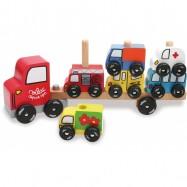 Dřevěná hračka Vilac - Dřevěné motorické auto - nasazování