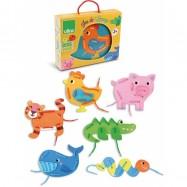 Dřevěné hračky Vilac - Sada provlékání zvířátka