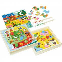 VILAC Drewniany zestaw zabawnych gier ze zwierzątkami 4w1