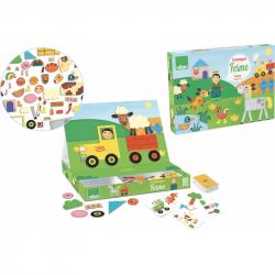 Vilac - Drevená hra- Skladacie magnetická tabuľka Farma