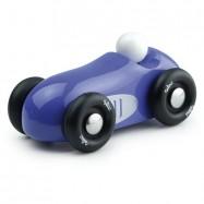 Drewniane dizajnowe auto wyścigowe niebieskie