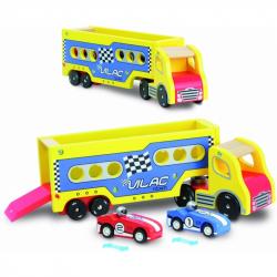 Drevená hračka Vilac - Nákladné auto s pretekárskymi autami