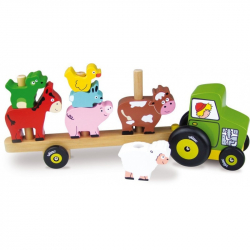 Drevená hračka Vilac - Traktor so zvieratkami - nasadzovanie