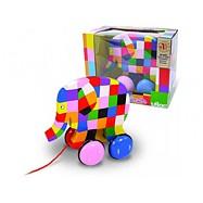 Dřevěná hračka Vilac - Tahací barevný slon Elmer