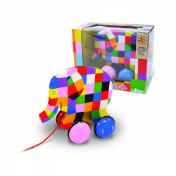 Drevená hračka Vilac - Ťahací farebný slon Elmer