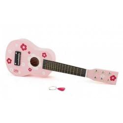 Detské hudobné nástroje - Gitara ružová s kvetmi