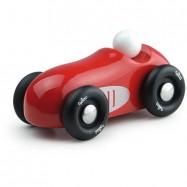 Drewniane dizajnowe auto wyścigowe czerwone