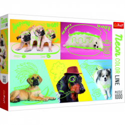 Puzzle Neon Color Line - Vtipní psi 1000 dílků