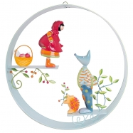 Závěsná dekorace  kruhová - Vlk a Červená Karkulka