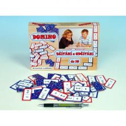 Domino sčítání a odčítání do 10 společenská hra 60ks v krabici 22x16x3cm