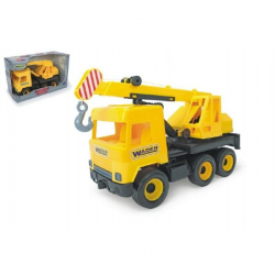 Auto middle Truck jeřáb plast 40 cm žlutý