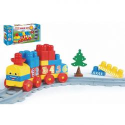 Baby Blocks vlak s koľajami a stavebnicou plast dĺžka dráhy 1,45 m s doplnkami v krabici 42x21x8cm 12m +