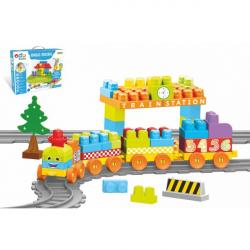 Baby Blocks vlak s koľajami a stavebnicou plast dĺžka dráhy 3,3m s doplnkami v krabici 65x36x8cm 12m +