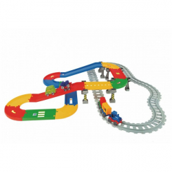 Play Tracks - vlak s koľajami plast 5ks autíčok, dĺžka dráhy 6,3 mm s doplnkami v krabici 80x53x14cm 12m +