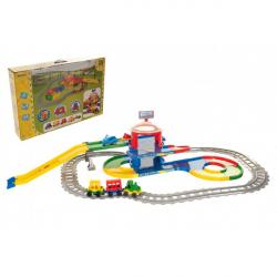 Play Tracks - vlak s koľajami plast 4ks autíčok, dĺžka dráhy 6,4m s doplnkami v krabici 80x53x14cm 12m +