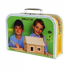 Domek drewniany do składania. 72 elementy, walizka