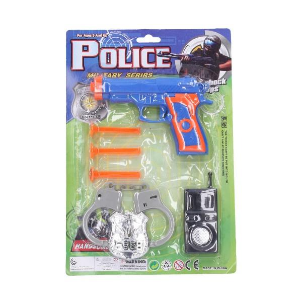 Zestaw policyjny pistolet plastikowy do przyssawek nabojów 15 cm 3 szt