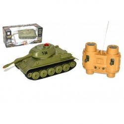 Tank RC plast 22cm T34 27MHz na batérie + dobíjacie pack so zvukom a svetlom v krabici 40x15x19cm