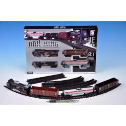 Pociąg z szynami plastikowymi 104 x 68 cm na akumulatory ze światłem z dźwiękiem