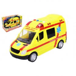 Auto ambulancie záchranári plast 21 cm na batérie so svetlom a zvukom