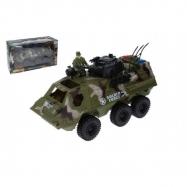 Auto vojenské obrněný transportér s doplňky plast 30cm volný chod v krabici 38x22x14cm