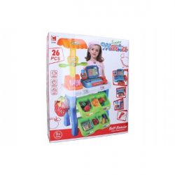 Hracia sada supermarket pokladňa 26ks plast 50x87cm na batérie so zvukom so svetlom v krabici