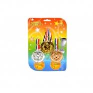 Medaile 3 barvy 3ks plast se šňůrkou na kartě