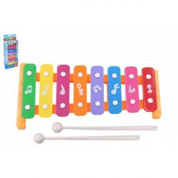 Ksylofon 26 cm metal / plastik + 2 pałeczki 3 kolory w pudełku