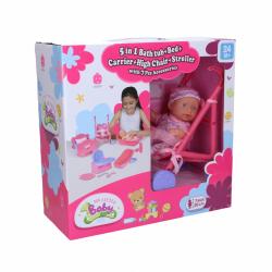 Dziecko 20 cm z łóżkiem, wanną i innymi akcesoriami